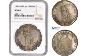 AD558, Peru, 8 Reales 1826-LIMA JM, Silver, NGC MS64, Rainbow toning! Top Pop! Rare!
