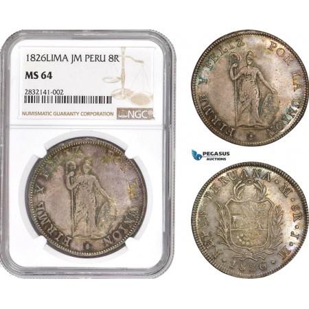 AD558, Peru, 8 Reales 1826-LIMA JM, Silver, NGC MS64, Rainbow toning! Top Pop! Rare!
