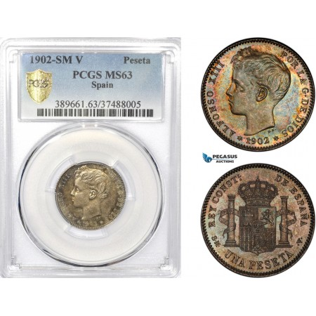 AD559-R, Spain, Alfonso XIII, 1 Peseta 1902 SM-V, Madrid, Silver, PCGS MS63, Pop 1/0 (Rainbow, Prooflike)