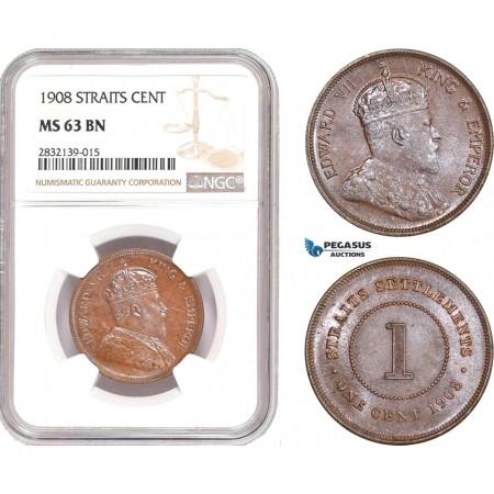 AD560, Straits Settlements, Edward VII, 1 Cent 1908, NGC MS63BN