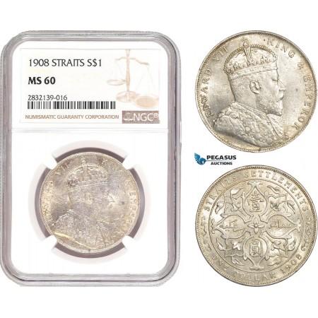 AD561, Straits Settlements, Edward VII, Dollar 1908-B, Bombay, Silver, NGC MS60