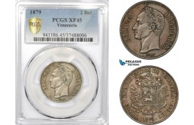 AD562-R, Venezuela, 2 Bolivares 1879, Caracas, Silver, PCGS XF45, Rare!