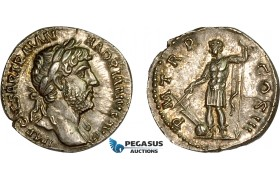 AD563, Roman Empire, Hadrian (117-138 AD) AR Denarius (3.43g) Rome, 119-122 AD, Hadrian, in military dress, aUNC, Patina!