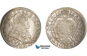 AD564, Austria, Leopold I, 15 Kreuzer 1676, Vienna, Silver (6.25g) Lustrous AU (Cleaned)