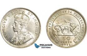 AD565, British East Africa & Uganda Protectorates, George V, 50 Cents 1911, Silver, Lustrous AU (Cleaned)