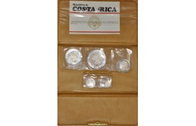 AD567, Costa Rica, 5-Piece silver Proof Set 1969: 2, 5, 10, 20 & 25 Colones, in original packing, COA #235