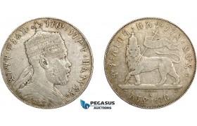 AD568, Ethiopia, Menelik II, 1 Birr EE1889-A, Paris, Silver, F+