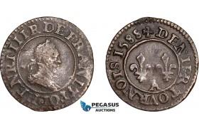 AD569, France, Henri IV, Denier Tournois 1588-A, Paris, VF-XF