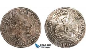 AD619, Germany, Mansfeld, Taler 1566, Eisleben, Silver (28.34g) Dav. 9501, Polished, scratched, VF