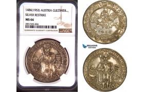 AD644, Austria, Archduke Sigismund , Guldiner 1486 (Restrike of 1953) Silver, NGC MS66