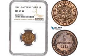 AD648, Bulgaria, Alexander I, 2 Stotinki 1881-Heaton, NGC MS65RB
