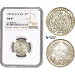 AD649, Bulgaria, Alexander I, 1 Lev 1882, St. Petersburg, Silver, NGC MS64