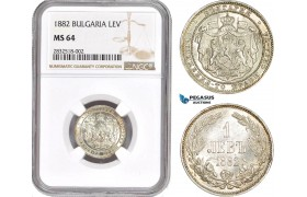 AD649, Bulgaria, Alexander I, 1 Lev 1882, St. Petersburg, Silver, NGC MS64