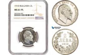 AD650, Bulgaria, Ferdinand I, 2 Leva 1910, Silver, NGC MS61PL, Pop 1/0