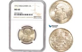 AD651, Bulgaria, Ferdinand I, 2 Leva 1912, Silver, NGC MS60