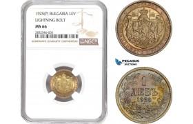AD652, Bulgaria, Boris III, 1 Lev 1925 (P) Ligthing Bold, Poissy, NGC MS66