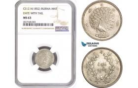 AD653, Myanmar (Burma) Pagan, Mat CS1214 (1852) Silver, Date with tail, NGC MS63, Top Pop!