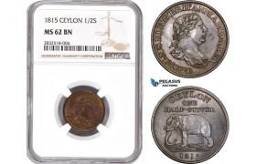 AD657, Ceylon, George III, 1/2 Stiver 1815, NGC MS62BN