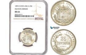 AD658, Costa Rica, 25 Centavos 1893 Heaton Birmm. Silver, Coin alignment, NGC MS65