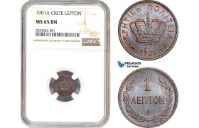 AD659, Crete, George I. of Greece, 1 Lepton 1901-A, Paris, NGC MS65BN