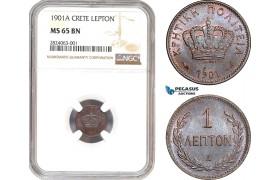 AD659, Crete, George I. of Greece, 1 Lepton 1901-A, Paris, NGC MS65BN