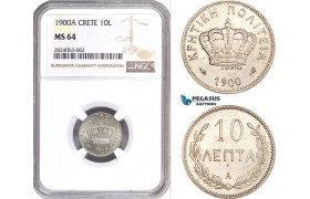 AD660, Crete, George I. of Greece, 10 Lepta 1900-A, Paris, NGC MS64