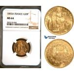 AD664, France, Third Republic, 20 Francs 1893-A, Paris, Gold, NGC MS64