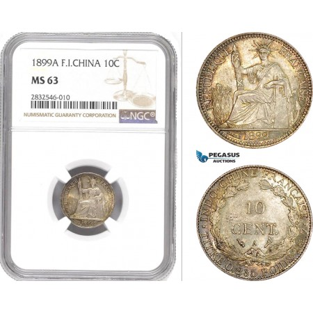 AD666, French Indo-China, 10 Centimes 1899-A, Paris, Silver, NGC MS63