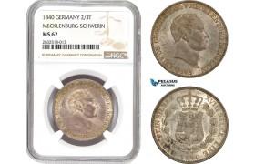 AD667, Germany, Mecklenburg-Schwerin, Paul Friedrich, 2/3 Taler 1840, Silver, NGC MS62