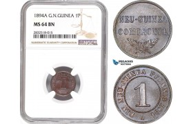 AD668, German New Guinea, 1 Pfennig 1894-A, Berlin, NGC MS64BN