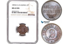 AD669, German New Guinea, 2 Pfennig 1894-A, Berlin, NGC MS63BN