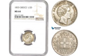 AD670, Greece, Othon, 1/2 Drachma 1833, Munich, Silver, NGC MS64