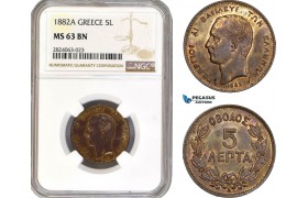AD671, Greece, George I, 5 Lepta 1882-A, Paris, NGC MS63BN
