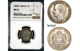 AD672, Greece, George I, 1 Drachma 1868-A, Paris, Silver, NGC MS61