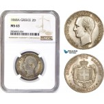 AD673, Greece, George I, 2 Drachmai 1868-A, Paris, Silver, NGC MS63, Rare!