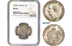 AD673, Greece, George I, 2 Drachmai 1868-A, Paris, Silver, NGC MS63, Rare!