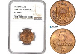 AD675, Latvia, 5 Santimi 1922, NGC MS64RB