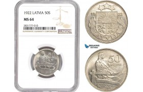 AD676, Latvia, 50 Santimi 1922, NGC MS64
