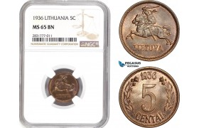 AD677, Lithuania, 5 Centai 1936, NGC MS65BN