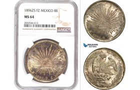 AD679, Mexico, 8 Reales 1896 Zs FZ, Zacatecas, Silver, NGC MS64