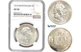 AD680, Montenegro, Nicholas I, 5 Perpera 1914, Silver, NGC AU58