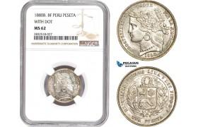 "AD681, Peru, 1 Peseta 1880-B BF, Silver, ""With dot"" NGC MS62"