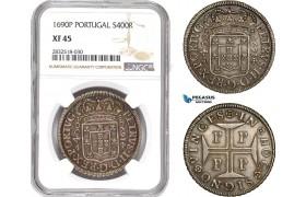 AD684, Portugal, Pedro II, 400 Reis 1690-P, Porto, Silver, NGC XF45
