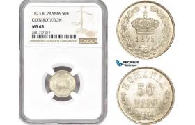 AD685, Romania, Carol I, 50 Bani 1873, Brussels, Silver, NGC MS63