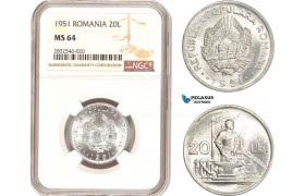 AD693, Romania, 20 Lei 1951, NGC MS64