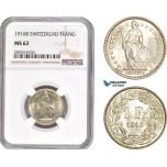 AD702, Switzerland, 1 Franc 1916-B, Bern, Silver, NGC MS62