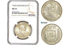 AD703, Switzerland, 5 Francs 1952-B, Bern, Silver, NGC MS63