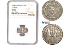 AD704, Thailand, Rama IV, 1/8 Baht ND (1860) Silver, NGC MS65