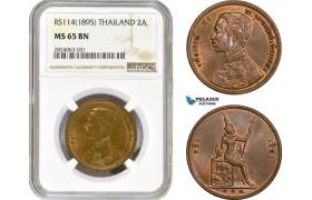 AD705, Thailand, Rama V, 2 Att RS 114 (1895) NGC MS65BN, Pop 1/0, Rare grade!