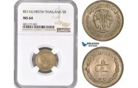 AD706, Thailand, Rama V, 5 Satang RS 116 (1897) -H, Heaton, NGC MS64